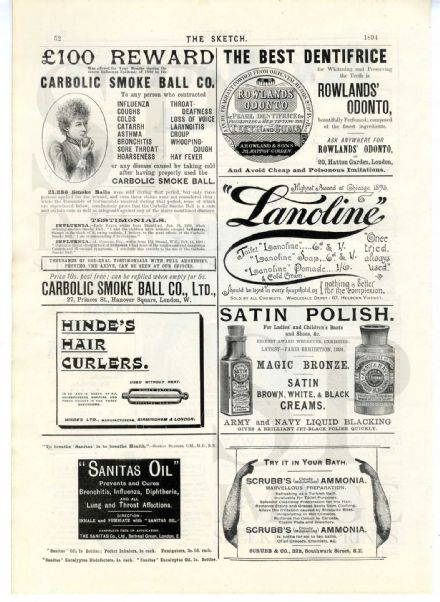 1894 CARBOLIC SMOKE BALL CO. etc Antique Print VICTORIAN ADVERTISING